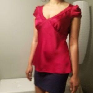 Ann Taylor Loft Petite Red Polyester Top Size 8p